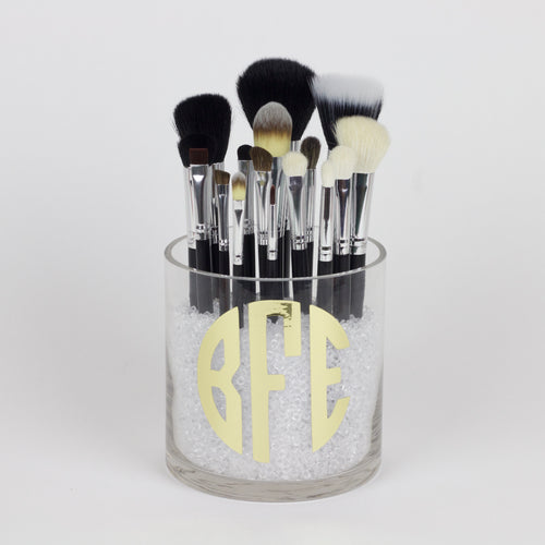 Triple Initial Makeup Brush Holder