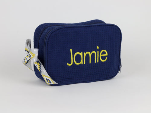 Build Your Own Full Name Waffle Weave Makeup Bag