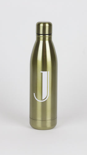 Single Initial Gold Metallic Water Bottle