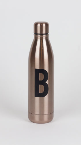 Single Initial Rose Gold Metallic Water Bottle