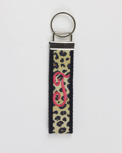 Cheetah and Pink Single Initial Keychain