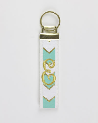 Tropical and Gold Chevron Single Initial Keychain