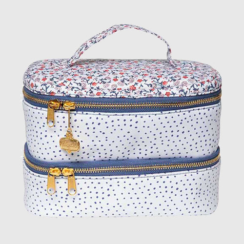 Navy Blooms Double Decker Makeup Bag