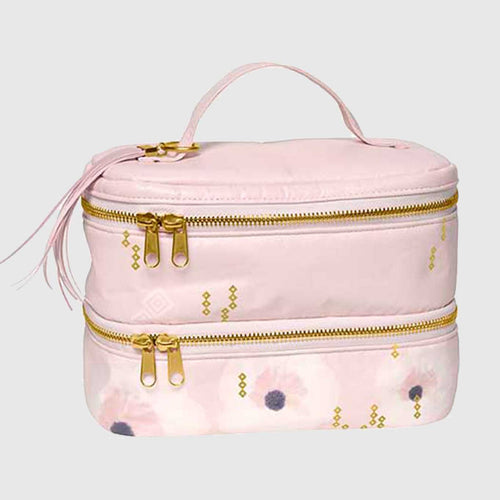 Pink Floral Double Decker Makeup Bag
