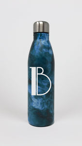Single Initial Blue Marble Water Bottle