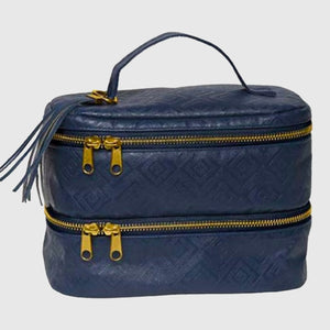 Navy Embossed Diamond Double Decker Makeup Bag