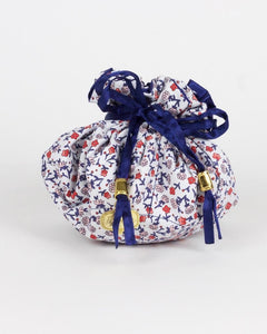 Navy Blooms Jewelry Pouch