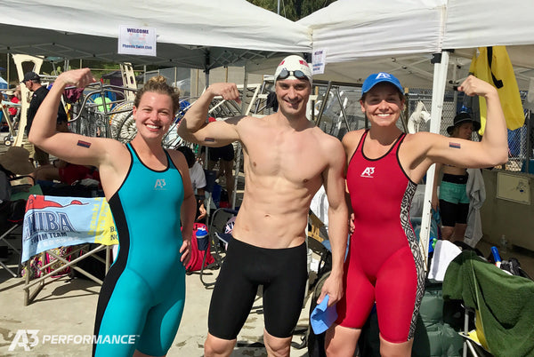 A3 Performance athletes flexing and smiling at USMS National Swim Meet
