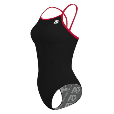 A3 Performance Contrast Female Xback Swimsuit - Black/Red 106 / 20 - Female