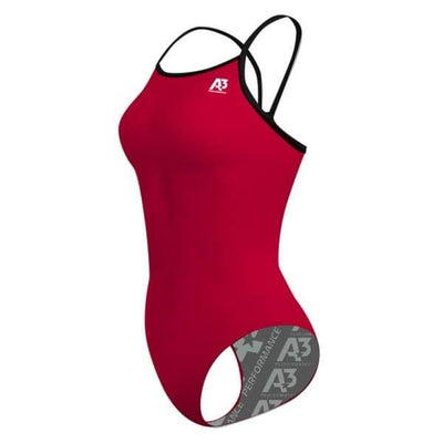 A3 Performance Contrast Female Xback Swimsuit - Red/Black 401 / 20 - Female