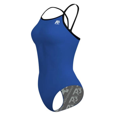 A3 Performance Contrast Female Xback Swimsuit - Royal/Black 301 / 18 - Female
