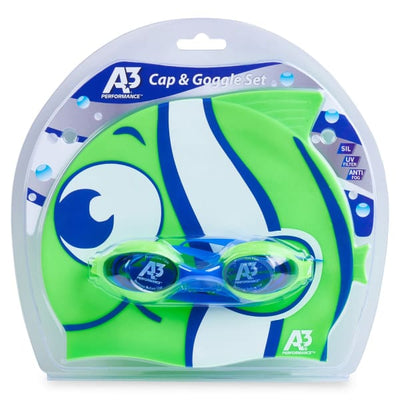 A3 Performance Flex Goggle and Fish Cap Combo - Blue/Green 311 - Kids