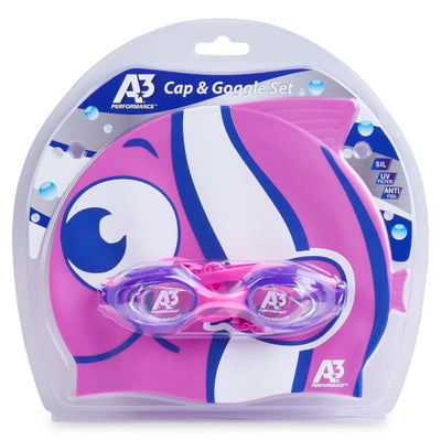 A3 Performance Flex Goggle and Fish Cap Combo - Purple/Pink 507 - Kids