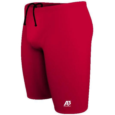 A3 Performance Solid Male Jammer Swimsuit - 18 / Red 400 - Male