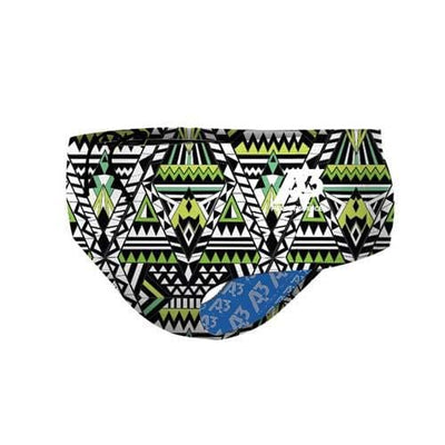A3 Performance Tribal Geo Male Brief Swimsuit - Green 800 / 22 - Male