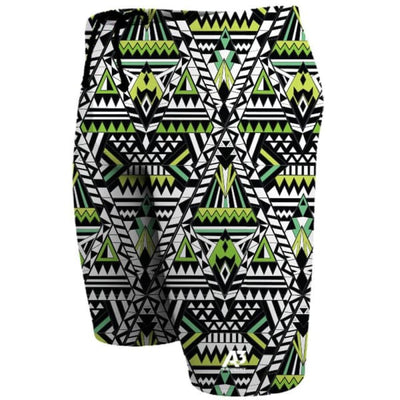A3 Performance Tribal Geo Male Jammer Swimsuit - Green 800 / 18 - Male