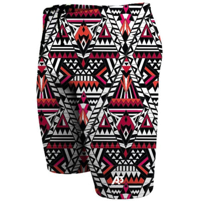 A3 Performance Tribal Geo Male Jammer Swimsuit - Red 400 / 18 - Male