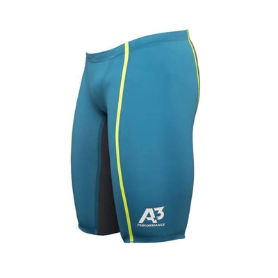 A3 Performance Vici Male Jammer Technical Racing Swimsuit - Teal/yellow 859 / 22 - Male
