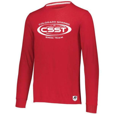 CSST Essential Long Sleeve Tee - True Red / Adult Small - Colorado Springs Swim Team