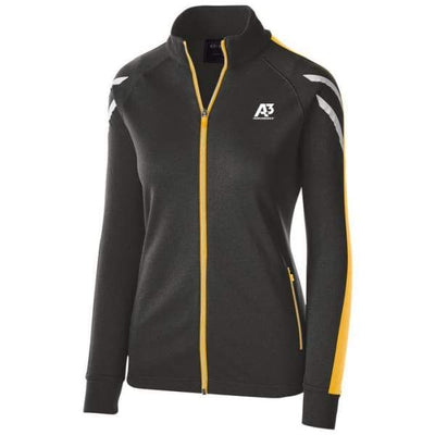 Ladies Flux Jacket - BLACK HEATHER/LIGHT GOLD/WHITE 878 / Ladies Small - Team Apparel