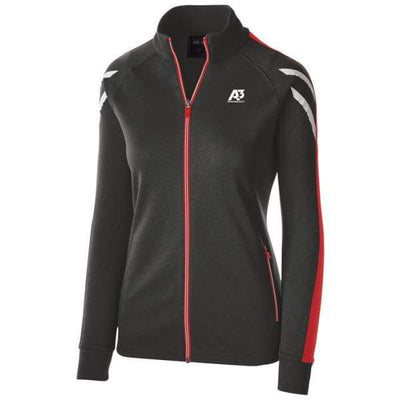 Ladies Flux Jacket - BLACK HEATHER/SCARLET/WHITE 877 / Ladies Small - Team Apparel