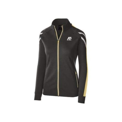 Ladies Flux Jacket - BLACK HEATHER/VEGAS GOLD/WHITE 875 / Ladies Small - Team Apparel