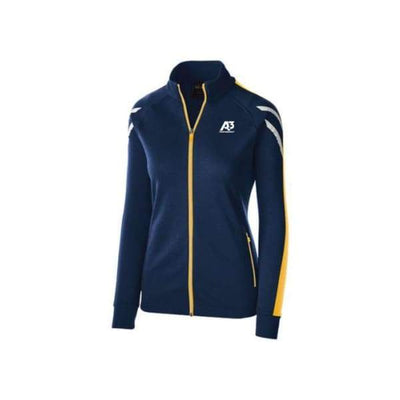 Ladies Flux Jacket - NAVY HEATHER/LIGHT GOLD/WHITE 887 / Ladies Small - Team Apparel
