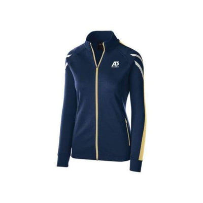 Ladies Flux Jacket - NAVY HEATHER/VEGAS GOLD/WHITE 886 / Ladies Small - Team Apparel