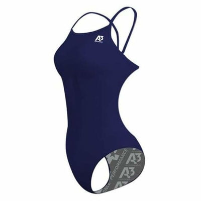 SIU A3 Performance Solid Female Flashback Swimsuit - Navy 350 / 24 - Southern Illinois University