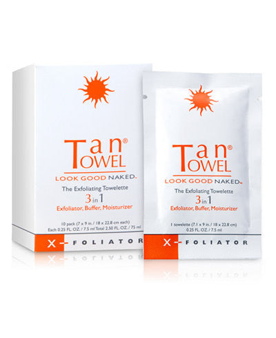 Tan Towel Exfoliator Towelettes 10 Count