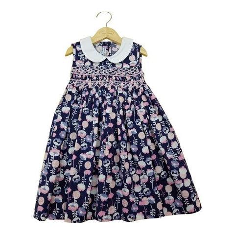Navy Smocked Poppy Dress