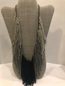 Black/Grey Ombre Fringe Necklace