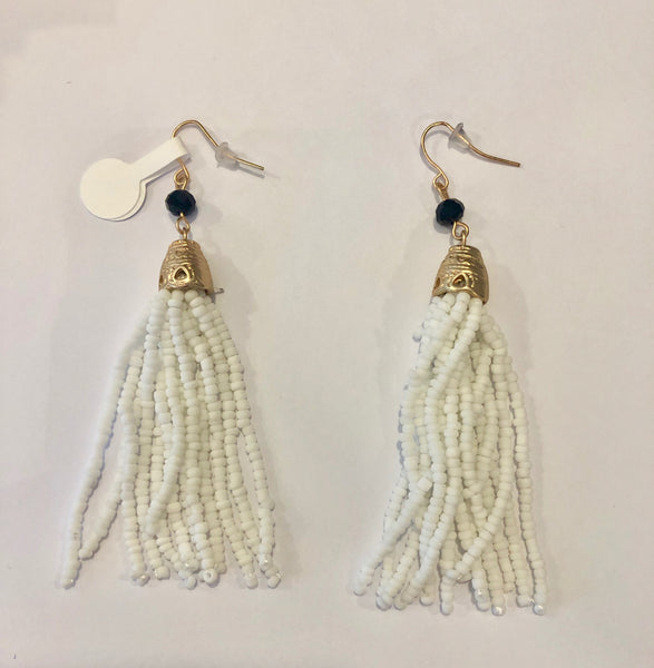 Beaded Fringe Dangle Earrings