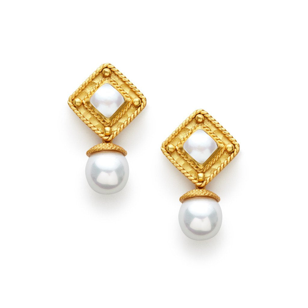 Medici Clip-on Gold Pearl Top and Pearl Drop