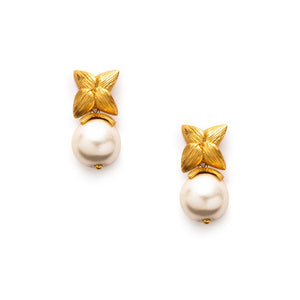 Penelope Cap and Post Earring Gold Pearl