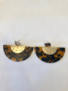 Tortoise Half Circle Earrings