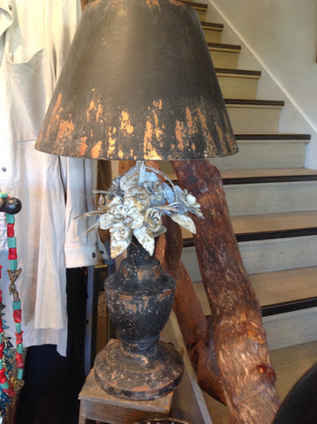 Distressed Floral Lamp 70743