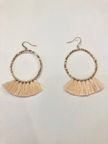 Round Colored Fringe Earrings