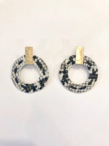 Circular Snakeskin Earrings