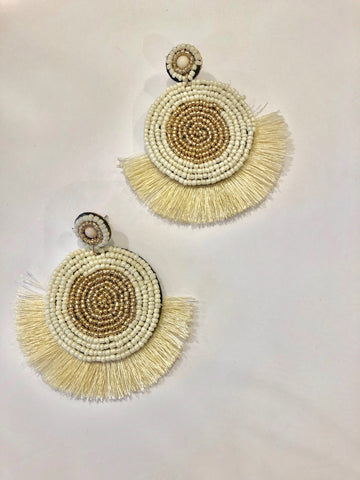 Fan Earrings with white/gold/cream details