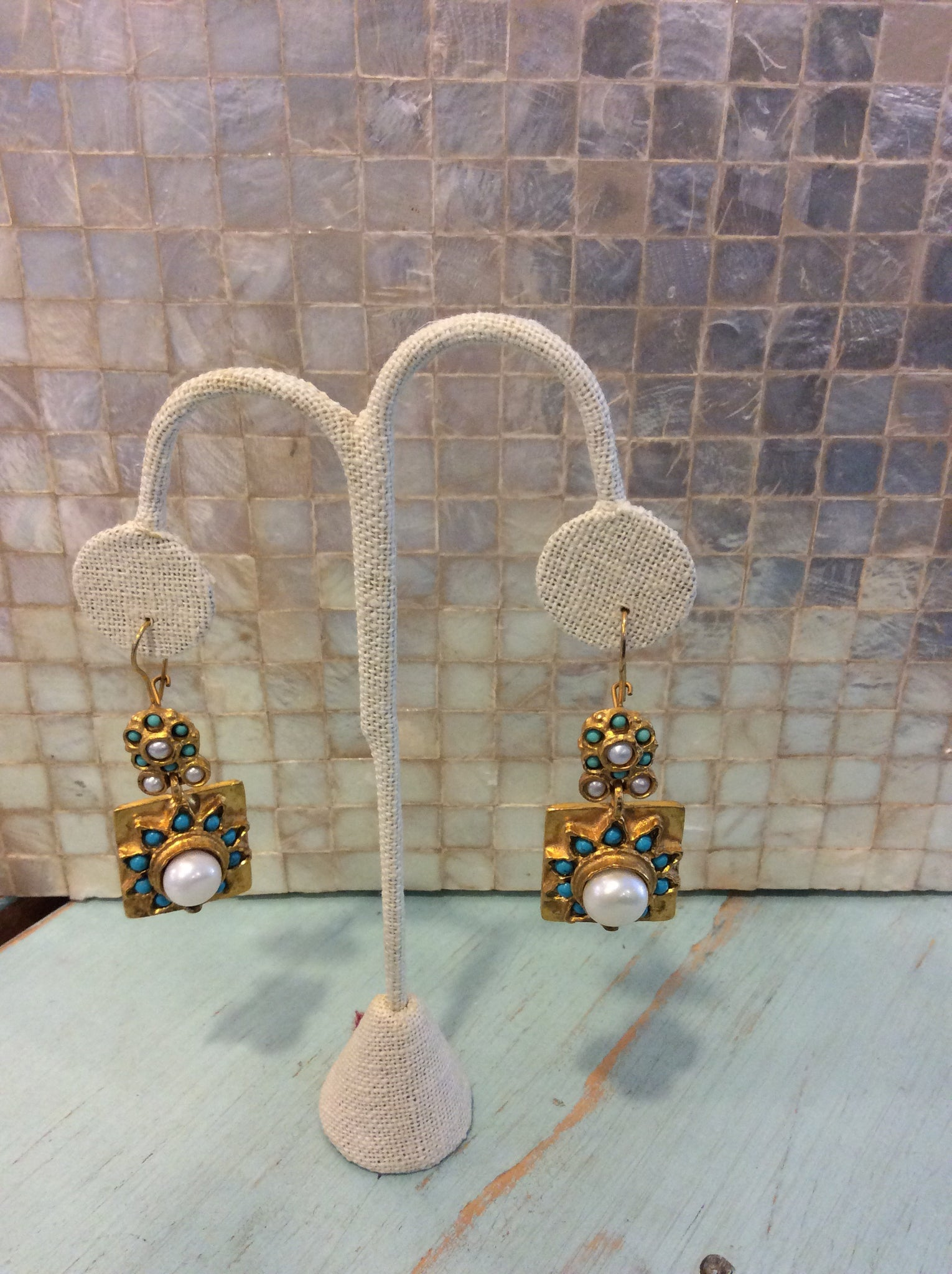 Gypsy square dangle Earrings with turquoise and pearl