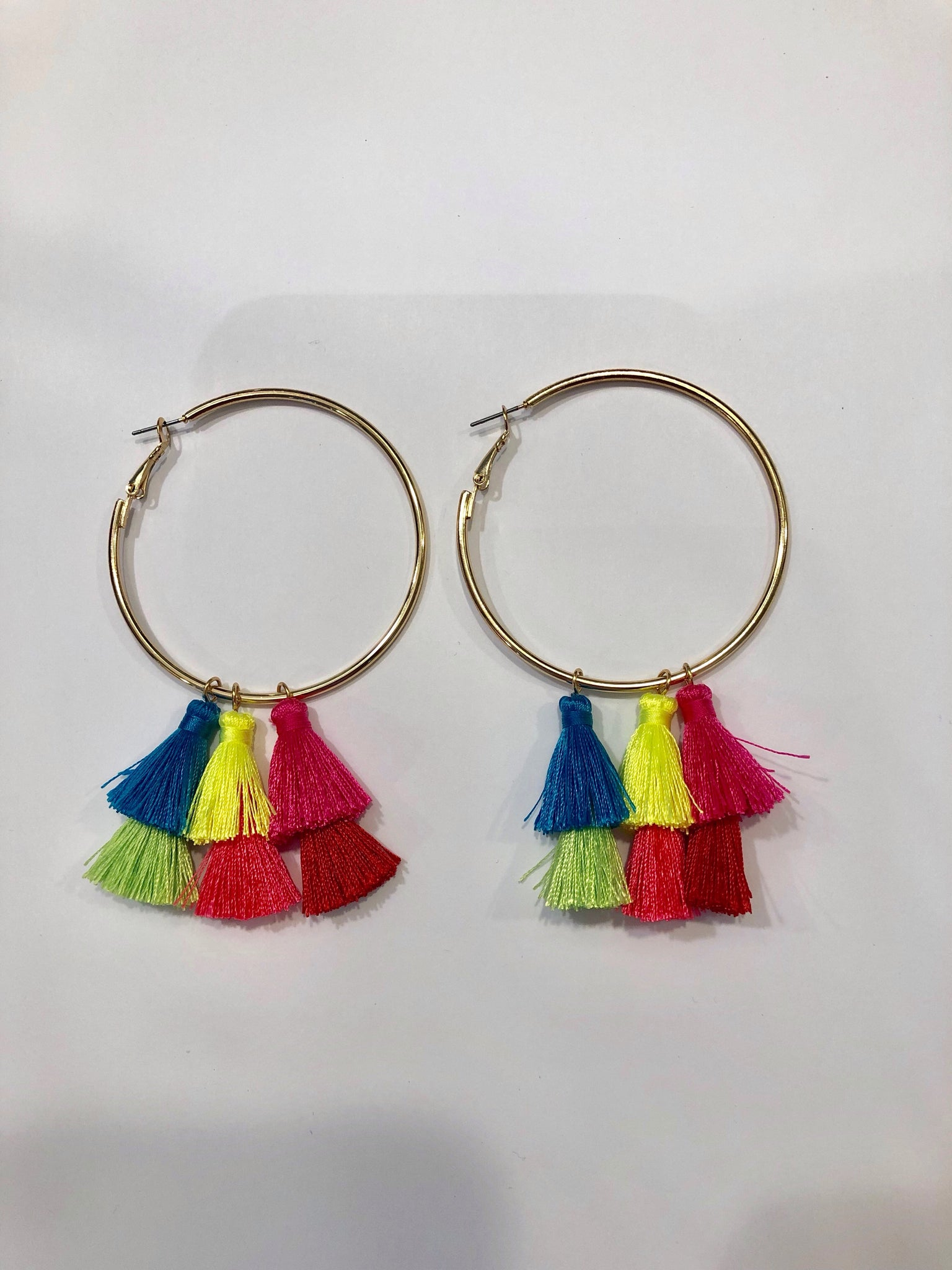 Neon Pink/Yellow Pom Pom Hoops