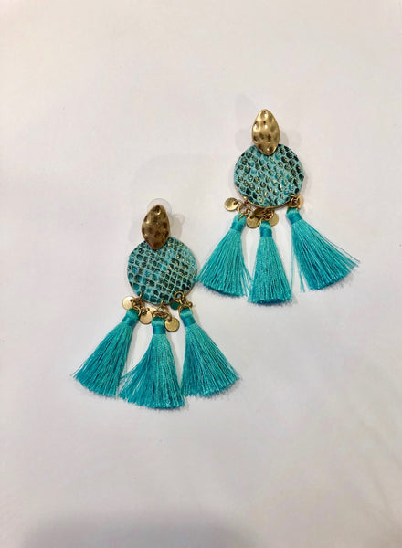 3 Tier Snakeskin Fringe Earrings