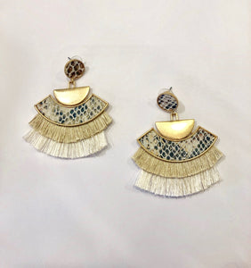 Snakeskin Fringe Earrings