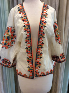 Embroidered Open Jacket