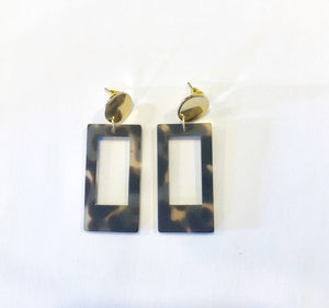 Gray Rectangular Tortoise Earrings