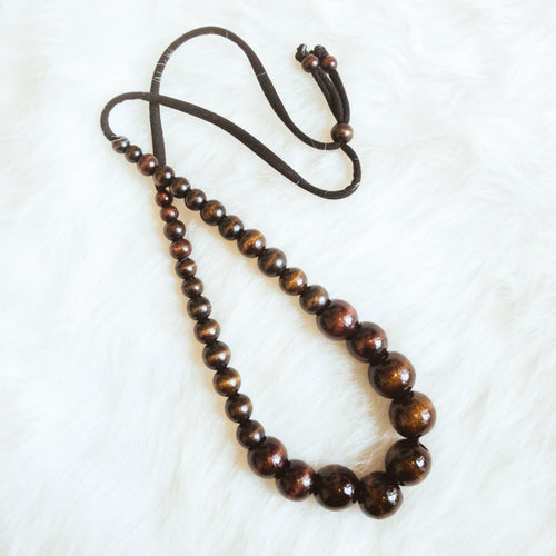Long Chocolate Beaded Necklace