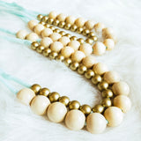 Gold/Natural Beaded Necklace