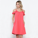 Coral Open Shoulder Dress