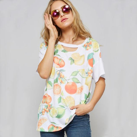 Fruit Print Short Sleeve Top